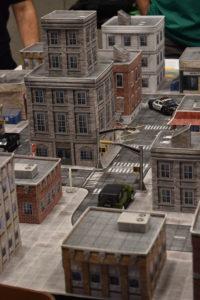 A cardboard cityscape